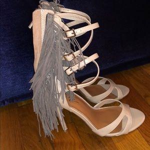 Beige and grey fringe heels